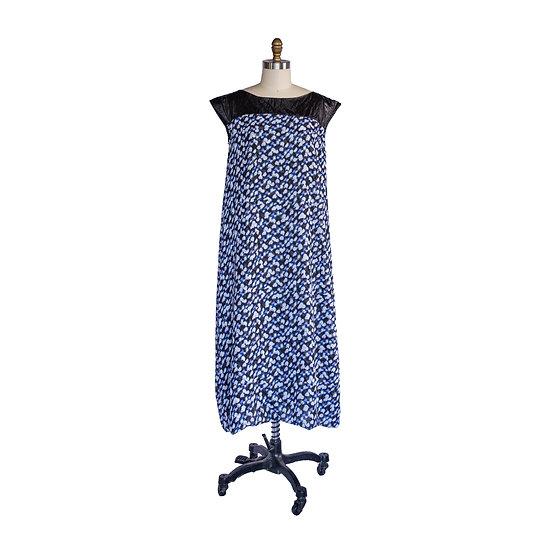 Boho Gown in Chiffon Print with Pleather Yoke