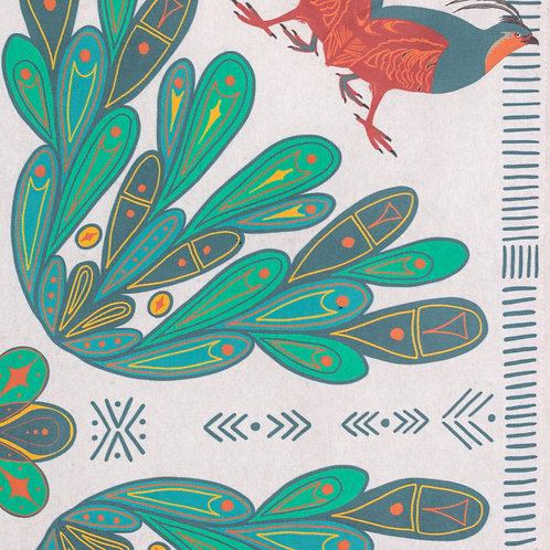 Folk Art Partridge Print Bandana — Off White Background