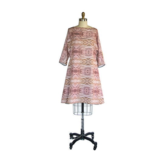 Dolman Sleeve Flip Hem Dress in Custom Pink Printed Faille