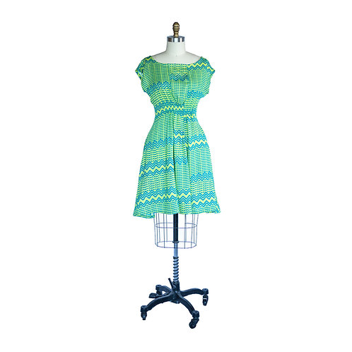 Madison Dress in Lime Green Zig Zag Printed Rayon Crepe