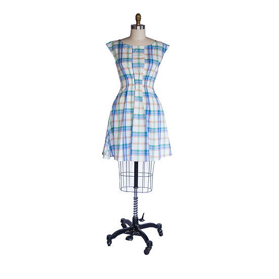 Madison Dress in Blue and Orange Plaid Cotton Voile