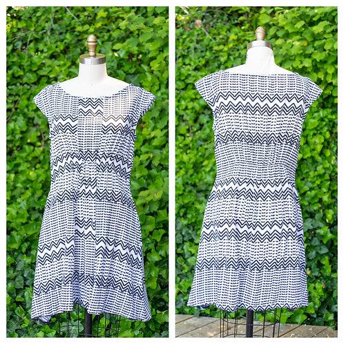 {Modified} Madison Dress in Black + White Zig-Zag Print Rayon Crepe
