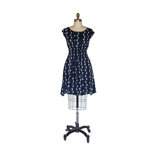 Madison Dress in Navy and White Geometric Printed Rayon Challis