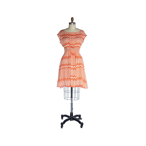 Madison Dress in Tangerine and Orange Zig Zag Printed Rayon Crepe