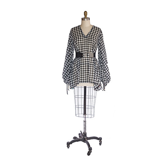 Long Sleeved Volume Top in Black and White Polka Dot Chiffon