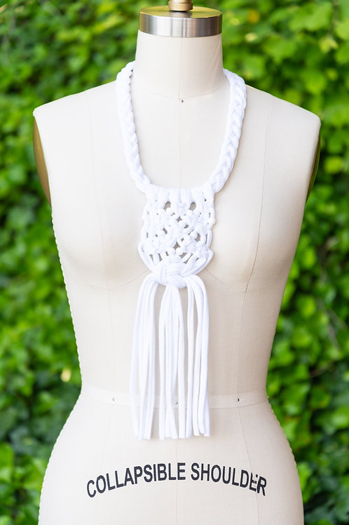 Handmade Macrame + Pony Bead Necklace —  White