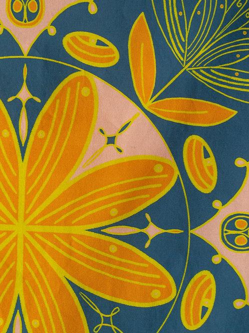 Boho Bandana — Carrot Orange with Cornflower Blue Background