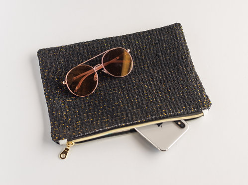The Slouchy Pouch — Black and Metallic Tweed