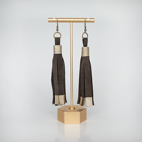 Handmade Recycled Leather Tassel Earrings — Chocolate Brown with Rose Gold Paint