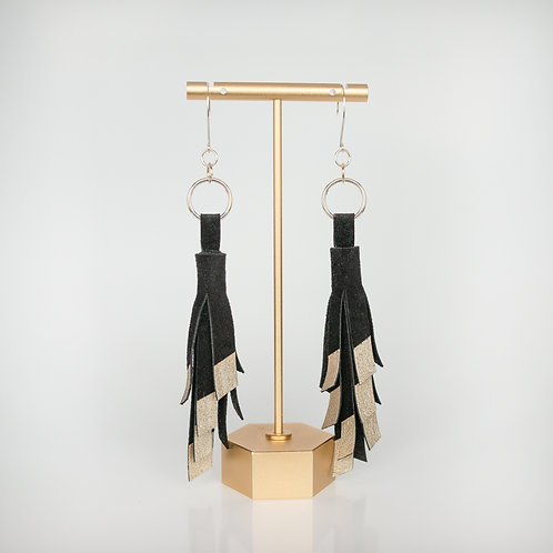 Handmade Recycled Leather Tassel Earrings — Black with Rose Gold Paint