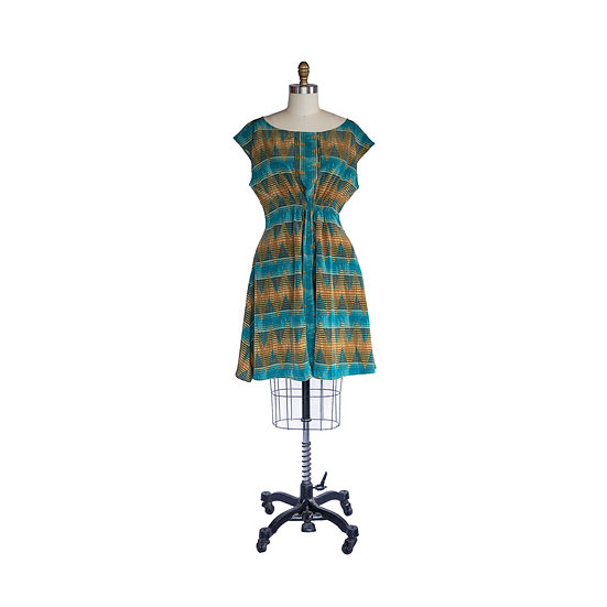 Madison Dress in Teal and Gold Zig Zag Printed Peachskin Fabric