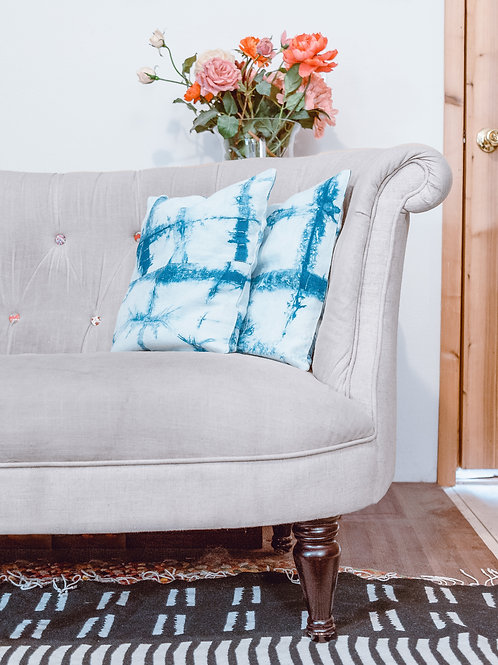 Pillow Covers — Shibori Dyed Indigo + White Pillow Covers Set of 2