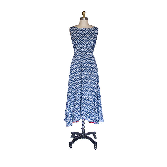 Backless Date Night Dress in Classic Blue Geometric Printed Rayon