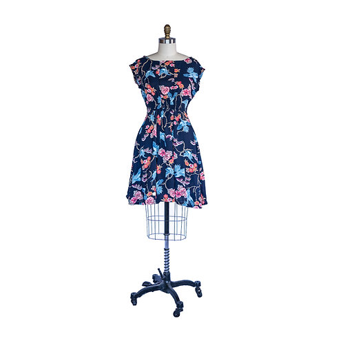 Madison Dress in Classic Blue and Salmon Bird Print Charmeuse