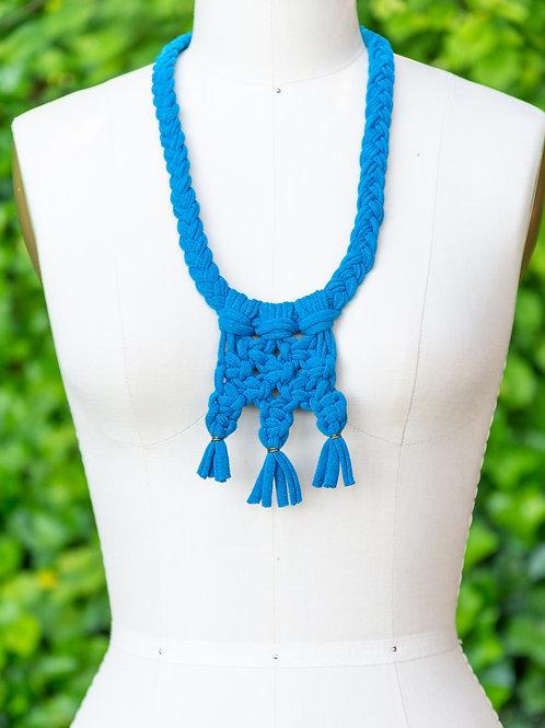 Handmade Macrame Necklace — Cerulean Blue