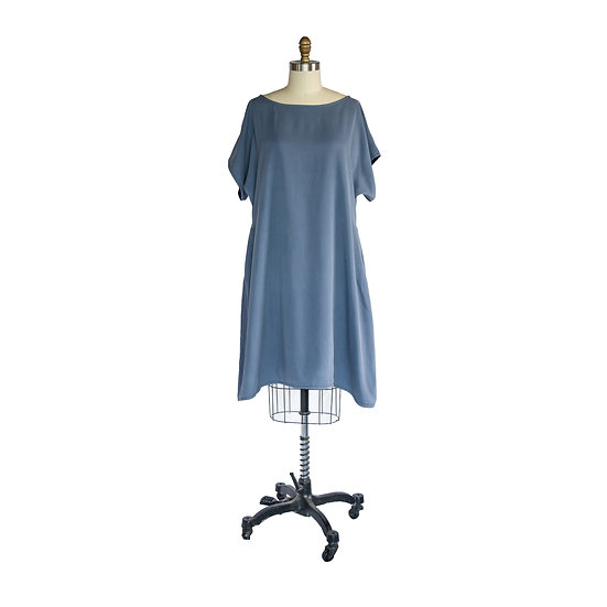 Batwing Dress in Periwinkle Silk Suede Suiting