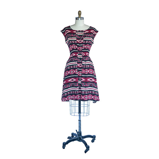 Madison Dress in Maroon Black and White Aztec Printed Rayon Crepe