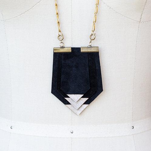 Handmade Recycled Arrow Pendant - Black Suede