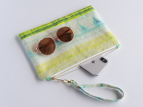 The Perfect Clutch — Abstract Chartreuse + Turquoise Linen