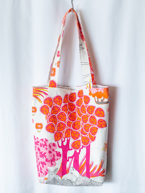 The Everyday Tote — Bold Pink Pastoral Print