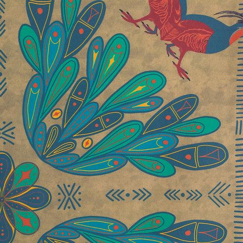 Folk Art Print Partridge Bandana — Gold Background