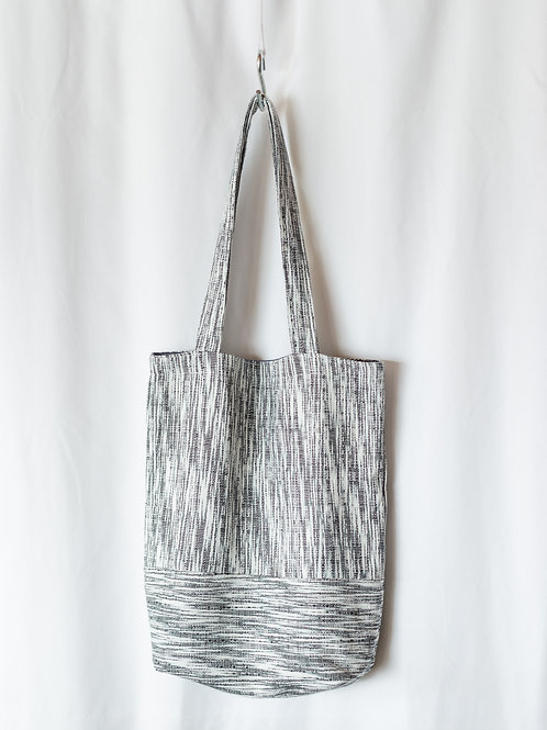 The Everyday Tote — Black + WhiteTextured Suiting