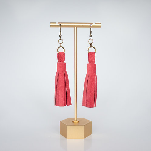 Handmade Recycled Leather Tassel Earrings — Hot Pink