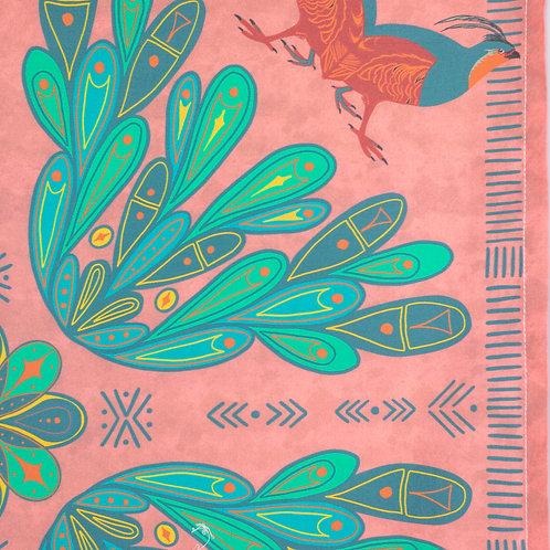 Folk Art Partridge Print Bandana — Salmon Background