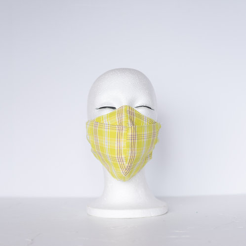 The Beak Mask — Citrus Plaid Cotton