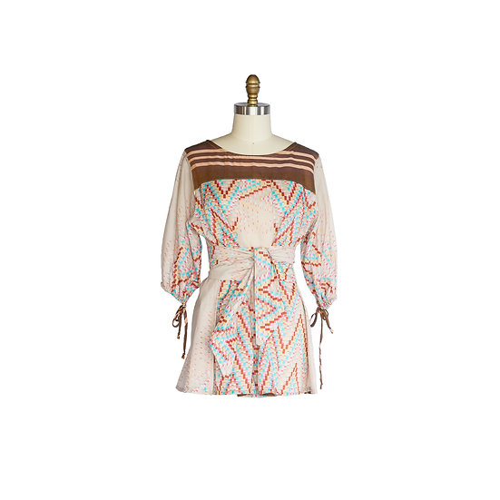 Boatneck Blouse in Multi-color Printed Cotton Voile with Self Ties