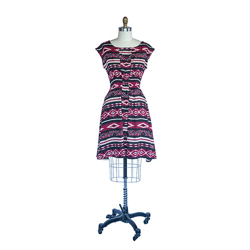 Madison Dress in Maroon + Black Aztec Print Rayon Crepe