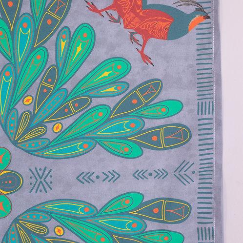 Folk Art Partridge Print Bandana — Dark Lavender Background