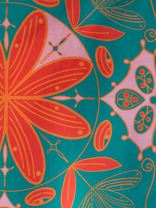 Boho Bandana — Cadmium Red with Teal Background