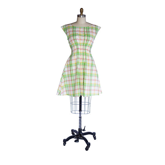 Madison Dress in Green and Yellow Plaid Cotton Voile