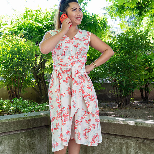 Trapeze Romper in Pink and Blue Floral Printed Cotton