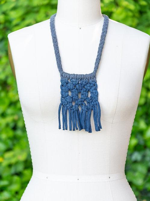 Handmade Macrame Necklace — Heather Gray + Indigo