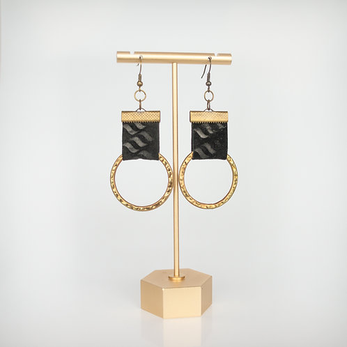 Handmade Recycled Leather Earrings — Black + Bronze