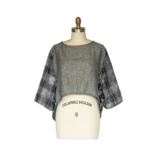 Boxy Oversized Crop Top in Shades of Gray Cotton Plaid Ikat