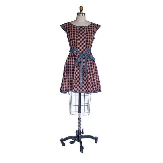 Madison Dress in Red Star Print with Contrast Self Ties
