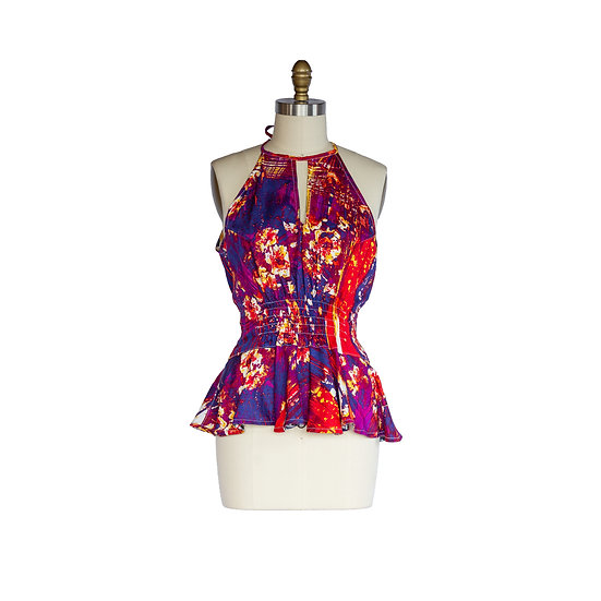 Keyhole Peplum Halter Top in Bold Colorful Rayon Print