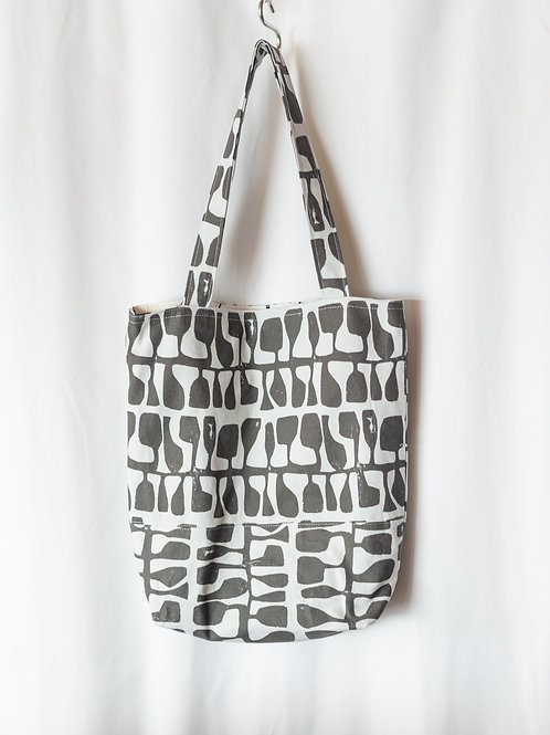 The Everyday Tote — Gray Abstract Print