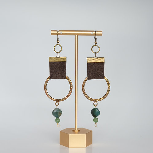 Handmade Recycled Leather Bronze and Gemstone Earrings