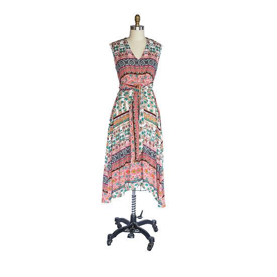 Robe-Dress in Multi-color Stripe Printed Rayon Challis