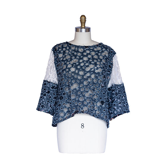 Boxy Oversized Top in Denim Cutout and Cream Lace