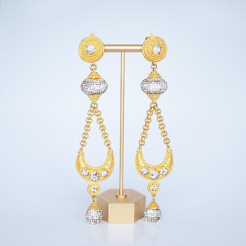 Vintage Costume Earrings — Gold Clip-On Danglers