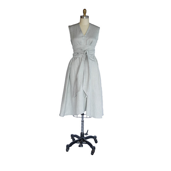 Robe-Dress in Heather Gray Small Scale Checked Cotton Twill