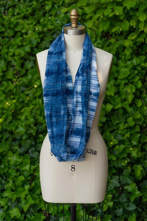 Infinity Scarf — Shibori Tie-Dyed Indigo Cotton Plaid Print