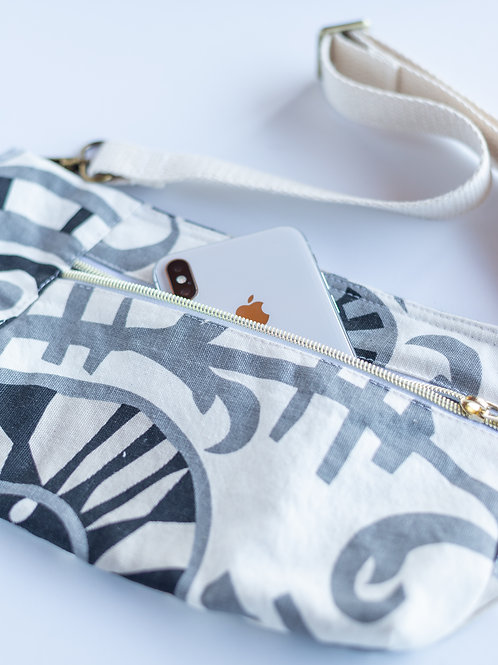 Fanny Pack Hip Bag in Abstract Printed Cotton Canvas