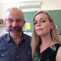 Michael Cox and Abbie sporting moustaches