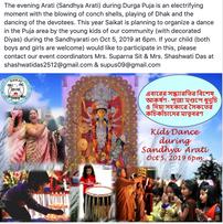 Sandhya Arati with Dhaak & Kids Dance Saturday 6pm